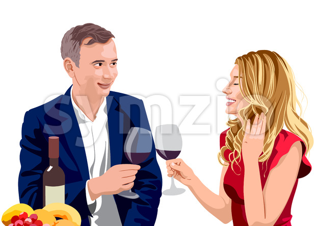 Mature couple clinking glasses of wine at a date. Man wearing suit and woman with blonde hair in red dress. ...