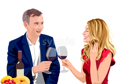 Mature couple clinking glasses of wine at a date. Man wearing suit and woman with blonde hair in red dress. Smiling and enjoying time together. Vector Stock Vector