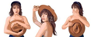 Collage of a beautiful caucasian girl posing in different positions. Covering breast with cowboy hat. Expressing tenderness. Isolated background. Stock Vector