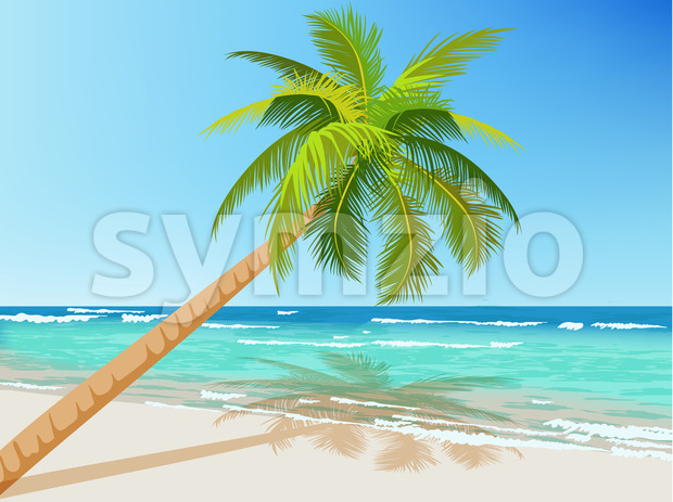 Green palm tree growing above blue sea in summer time. Waves on water. Vector Stock Vector