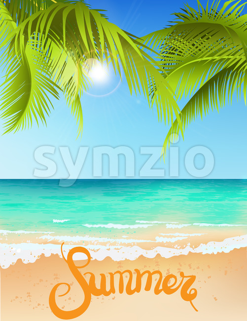 Green palm tree growing above blue sea in summer time. Waves on water. Place for text. Vector Stock Vector