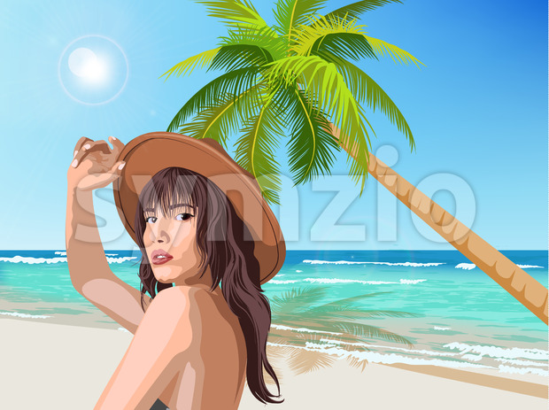 Young caucasian girl with brown hat posing on the beach with green palm and sea on background. Summer time. Vector