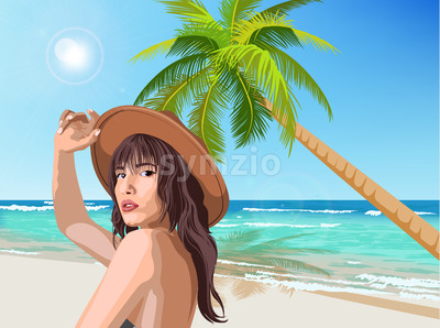 Young caucasian girl with brown hat posing on the beach with green palm and sea on background. Summer time. Vector Stock Vector