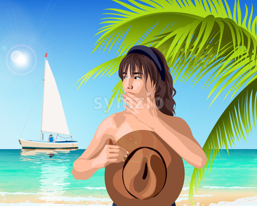 Young caucasian girl covering her breast with brown hat while boat is passing by. Green palm and sea on background. Summer time. Vector Stock Vector