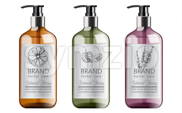 Bottles set of organic shampoo with herbal care. Various plants and colors. Mint, orange and lavender. Place for text. Vector