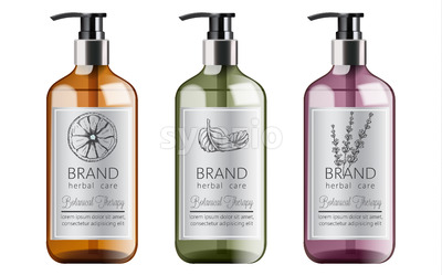 Bottles set of organic shampoo with herbal care. Various plants and colors. Mint, orange and lavender. Place for text. Vector Stock Vector
