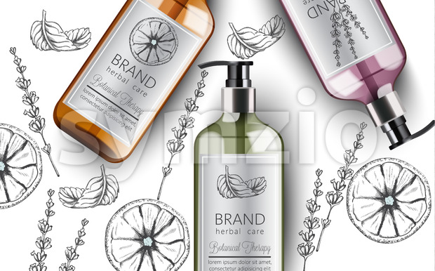 Composition of bottles of organic shampoo with herbal care. Various plants and colors. Mint, orange and lavender. Place for text. ...