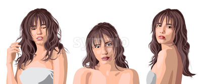 Collage of a beautiful caucasian girl with bangs posing. Expressing tenderness. Vector Stock Vector