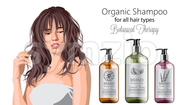 Tender woman with bangs advertising organic shampoo with herbal care. Various plants and colors. Mint, orange and lavender. Place for ...