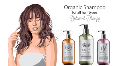Tender woman with bangs advertising organic shampoo with herbal care. Various plants and colors. Mint, orange and lavender. Place for text. Vector Stock Vector