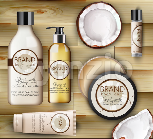Set of Coconut body care products with creams, shampoo bottles, milk, mask and lip balm. Wood background. Vector