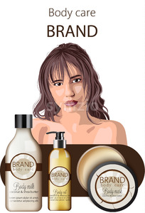 Tender woman with bangs advertising coconut body care products oil, milk and mask. Place for text. Vector Stock Vector