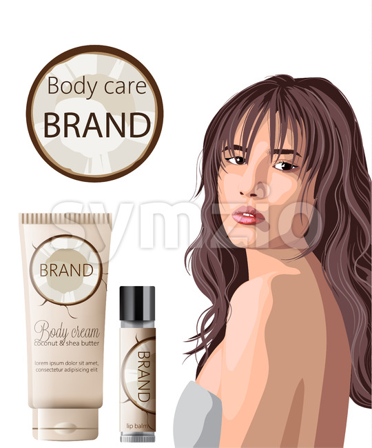 Tender woman with bangs advertising coconut body care products cream and lip balm. Place for text. Vector Stock Vector