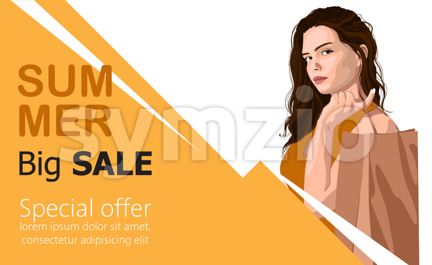 Summer big sale banner with a young girl holding on her back a paper shopping bag. Vector Stock Vector