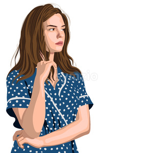 Serious young girl in blue polka dot dress thinking about something. Looking on side. Vector Stock Vector