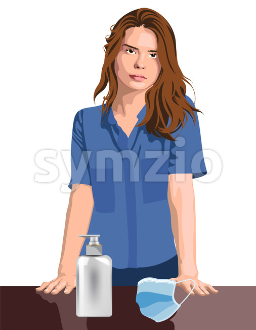 Young girl nurse or medical worker with hand sanitizer and medical protective mask. Corona Virus idea. Vector