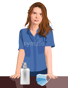 Young girl nurse or medical worker with hand sanitizer and medical protective mask. Corona Virus idea. Vector Stock Vector