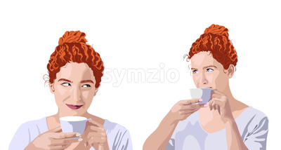 Set of curly ginger woman in white t-shirt drinking from a cup and smiling. Hair bun. Vector Stock Vector