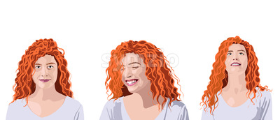 Set of curly ginger woman in white t-shirt with different facial expressions and positions. Looking up, smiling and being positive. Vector Stock Vector