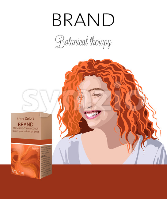 Box with cosmetics for color hair with place for text. Smiling curly ginger woman in background. Botanical therapy. Place for brand.. Vector Stock Vector