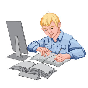 Joyful young blonde boy in blue shirt making his homework. Books and personal computer on the desk. Vector Stock Vector
