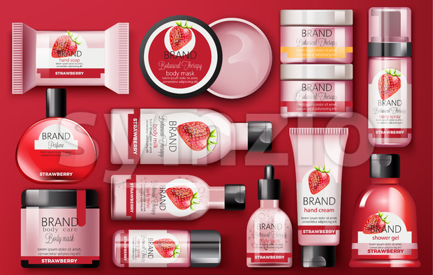 Set of cosmetic with strawberry with place for text on red background. Body milk, hand cream, shower gel, perfume, soap, mask and spray. Botanical Stock Vector