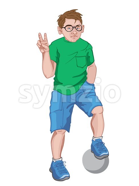 Young boy with serious facial expression in green t-shirt, blue shorts and sneakers and glasses showing peace sign while holding a football ball with Stock Vector