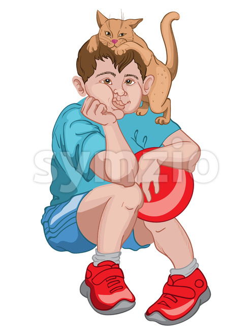 Bored boy in blue t-shirt, shorts and red sneakers holding a ball while his cat is playing on his head. ...