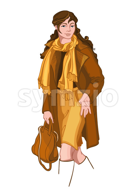 Young brunette woman dressed in yellow and brown autumn clothes. Elegant and stylish outfit. Vector Stock Vector