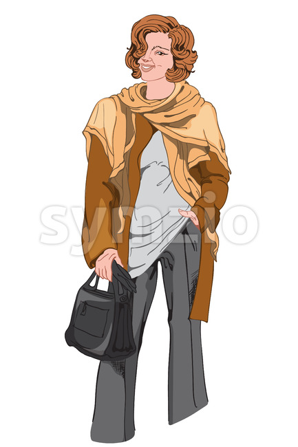 Smiling woman in black pants, white t-shirt, brown jacket and scarf with a black handbag. Elegant and stylish outfit. Vector