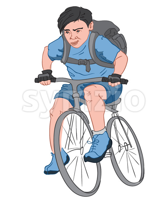 Black haired boy with a serious facial expression, dressed in blue clothes with a big black backpack riding his bike. Vector Stock Vector