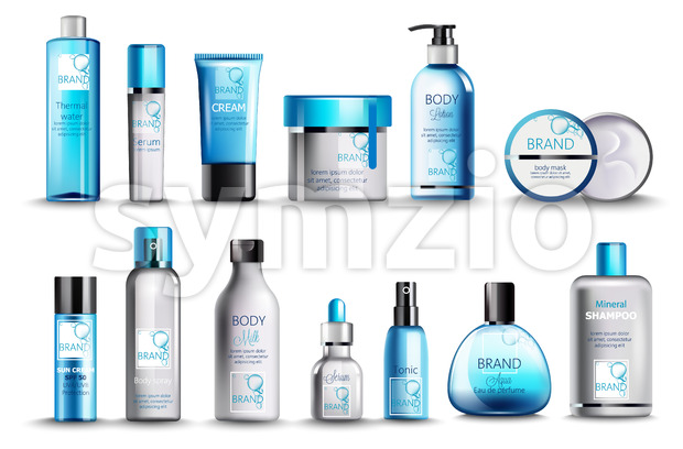 Set of cosmetic with thermal water, serum, cream, lotion, body mask, spray, milk, tonic, perfume and mineral shampoo. Product placement. Blue color Stock Vector