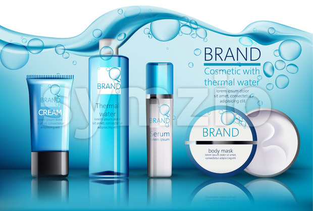 Set of cosmetic with place for text. Thermal water, serum, cream, body mask. Product placement. Water with bubbles on background. Realistic vector Stock Vector