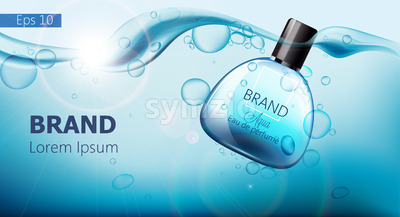 Bottle of perfume sinking in blue water with air bubbles. Place for text. Product placement mock up. Realistic vector Stock Vector