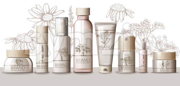 Herbal Set of cosmetic with wooden cap. Thermal water, serum, cream, lotion, body mask, spray, milk, tonic. Place for text. Product placement. Floral Stock Vector