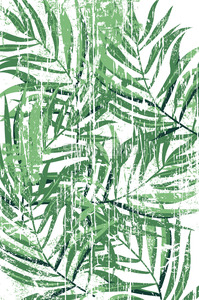 Tropical fern leaves pattern in grunge design. Green color. Vector Stock Vector