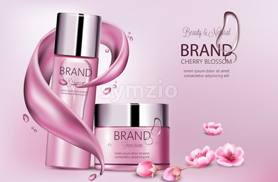 Set of cosmetics with essence and face cream. Product placement. Cherry blossom. Splash waves and drops. Place for brand. Realistic vector Stock Vector