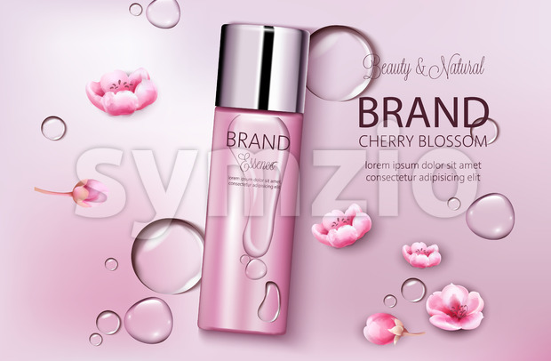 Bottle of cosmetics cherry blossom. Product placement. Natural beauty. Place for brand. Water drops background. Realistic vector