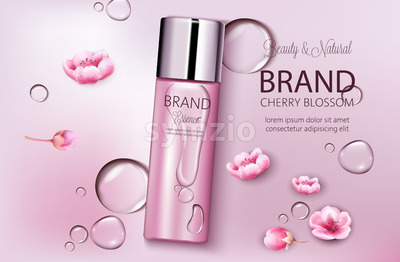 Bottle of cosmetics cherry blossom. Product placement. Natural beauty. Place for brand. Water drops background. Realistic vector Stock Vector