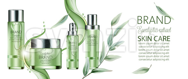 Set of cosmetic with place for text. Spray, cream, body milk. Eucalyptus extract. Realistic. Vector