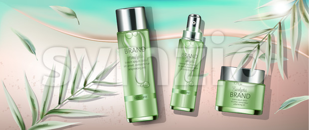 Set of cosmetics with eucalyptus extract. Spray, cream, body milk. Place for text. Beach and seashore background. Realistic. Vector realistic