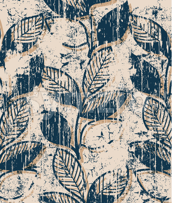 Twigs with leaves vintage pattern design. Grunge style. Vector Stock Vector