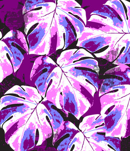 Abstract summer monstera leaves pattern. Bright pink and blue color splash. Vector Stock Vector