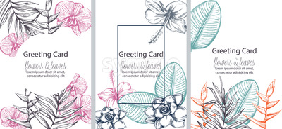 Set of greeting cards with place for text. Colorful flowers and leaves in line art. Vector Stock Vector