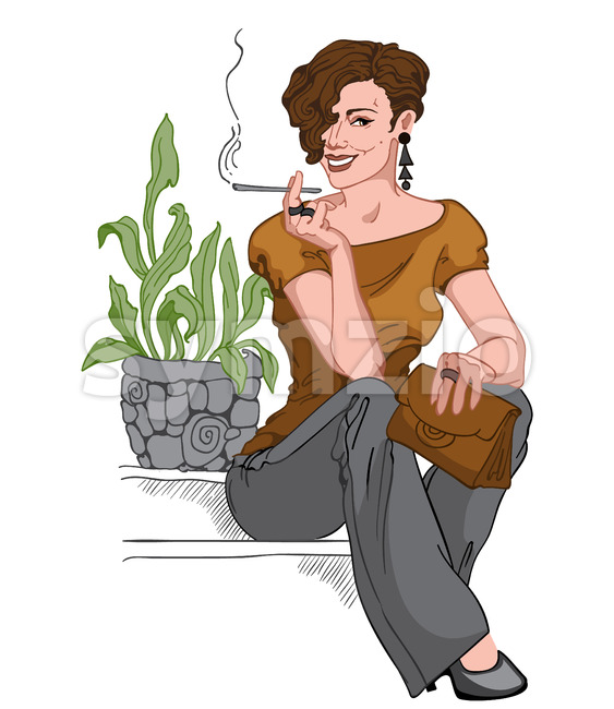 Smiling short haired brunette dressed in black pants, earrings and pants, brown purse and blouse sitting on staircase and smoking a cigarette. Vector Stock Vector