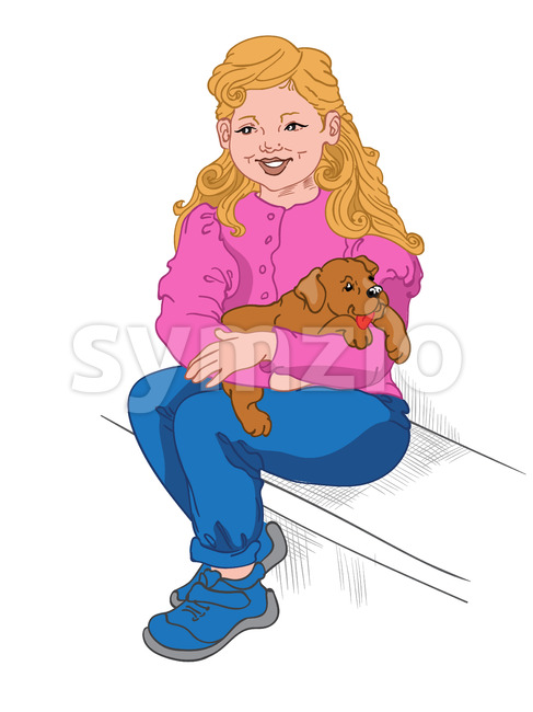 Happy blonde girl in blue jeans, sneakers and pink blouse holding a puppy on her lap. Vector