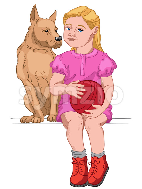 Blonde girl dressed in pink dress and red boots holding a red ball while sitting with her dog. Vector
