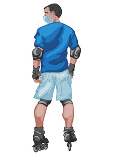 Black haired man dressed in blue t-shirt and shorts wearing a surgical mask while he is rollerblading. Sport activity during corona virus. Vector Stock Vector