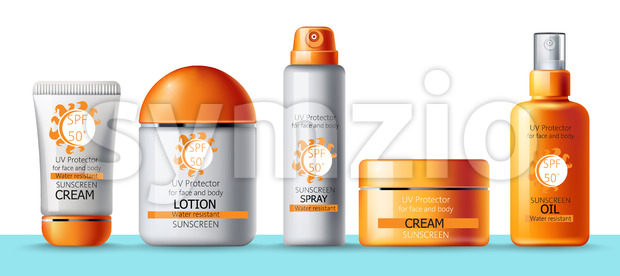 Set of sunscreen cream, lotion, spray and oil. UV protection. Water resistant. Realistic. Place for brand. Vector Stock Vector