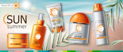 Set of sunscreen cream, lotion, spray and oil. UV protection. Water resistant. Realistic. Beach and leaves background. Place for brand. Vector Stock Vector